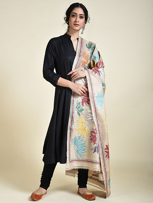 Multicolored Kantha Embroidered Tussar Silk Dupatta