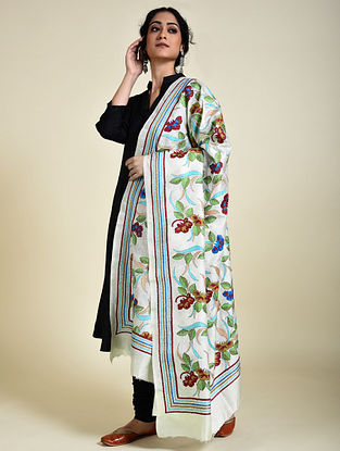 Ivory Kantha Embroidered Silk Dupatta