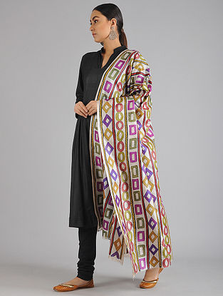 Multicolored Hand Painted Tussar Silk Dupatta with Kantha Embroidery