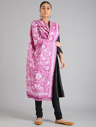 Pink Kantha Embroidered Tussar Silk Dupatta