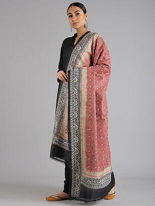 Red-Black Kantha Embroidered Tussar Silk Dupatta