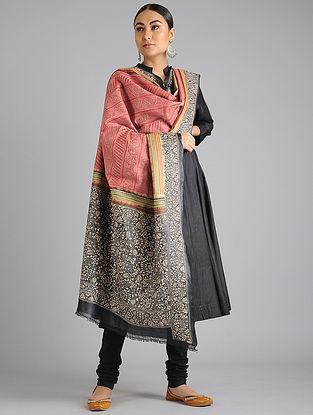 Rust-Black Kantha Embroidered Tussar Silk Dupatta
