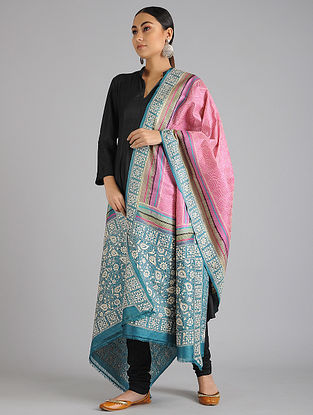 Blue-Pink Kantha Embroidered Tussar Silk Dupatta