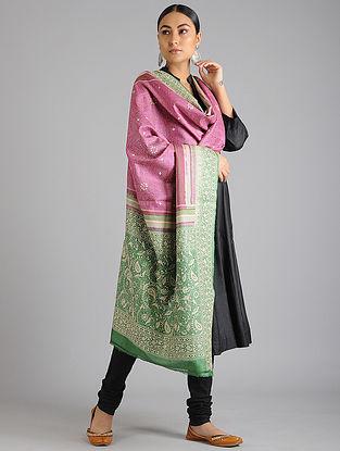 Green-Pink Kantha Embroidered Tussar Silk Dupatta