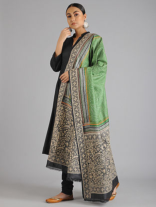Green-Black Kantha Embroidered Tussar Silk Dupatta