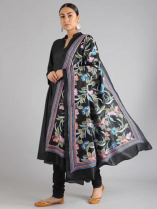 Black Kantha Embroidered Silk Dupatta