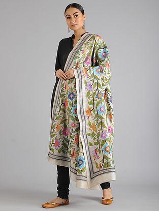 Ivory Kantha Embroidered Tussar Silk Dupatta