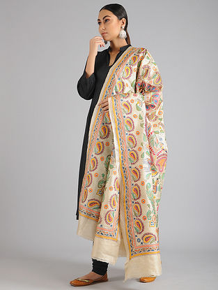 Cream Kantha Embroidered Tussar Silk Dupatta