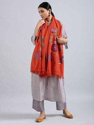 Orange Aari Embroidered Merino Wool Stole