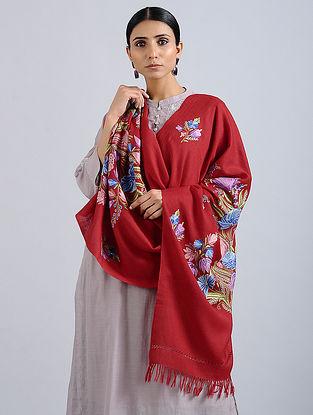 Red Aari Embroidered Merino Wool Stole