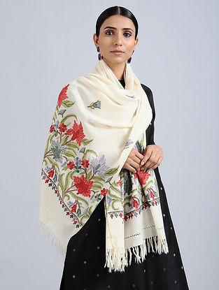 Ivory-Red Aari Embroidered Merino Wool Stole