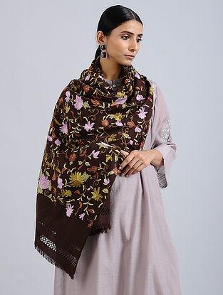 Brown Aari Embroidered Merino Wool Stole