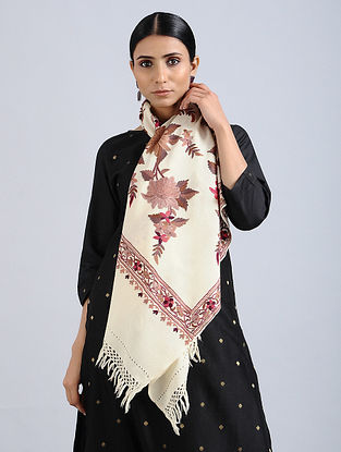 Ivory-Peach Aari Embroidered Merino Wool Stole