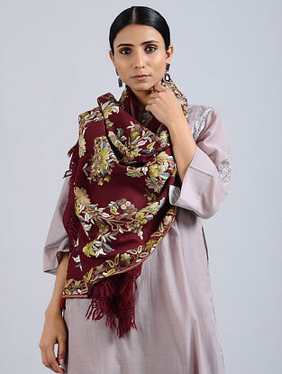 Maroon Aari Embroidered Merino Wool Stole