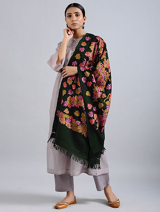 Green-Yellow Aari Embroidered Merino Wool Stole