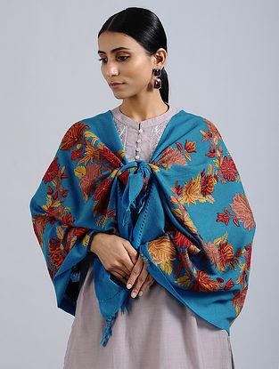 Blue-Red Aari Embroidered Merino Wool Stole