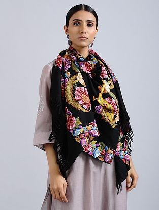 Black-Yellow Aari Embroidered Merino Wool Stole