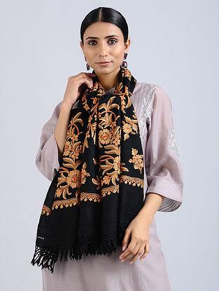 Black-Orange Aari Embroidered Merino Wool Stole