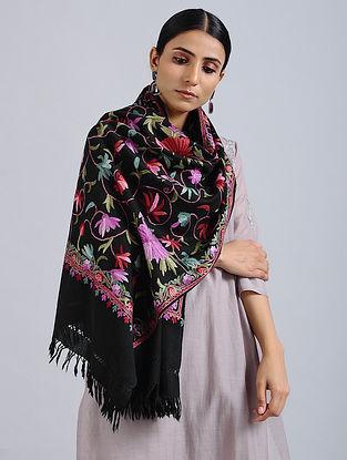 Black-Pink Aari Embroidered Merino Wool Stole