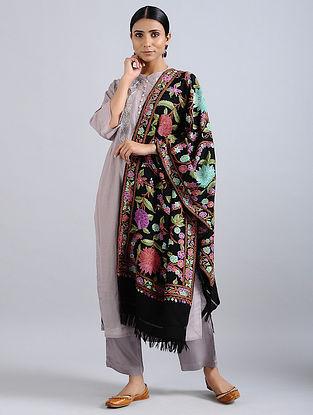 Multicolored Aari Embroidered Merino Wool Stole