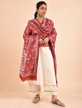Red-Ivory Kantha Embroidered Tussar Silk Dupatta