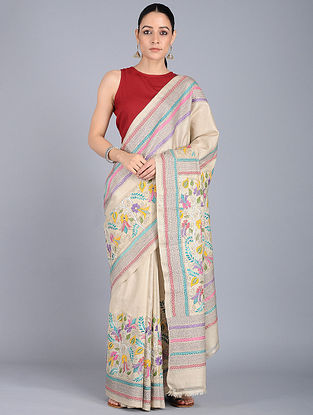 Ivory-Yellow Kantha-embroidered Tussar Silk Saree