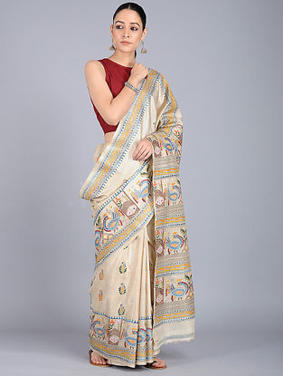 Ivory-Blue Kantha-embroidered Tussar Silk Saree