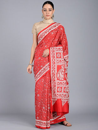 Red-Ivory Kantha-embroidered Silk Saree