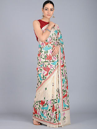 Ivory-Green Kantha-embroidered Silk Saree