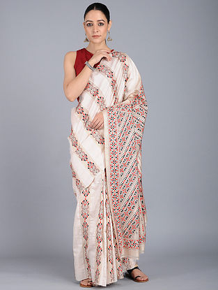 Ivory-Red Kantha-embroidered Silk Saree