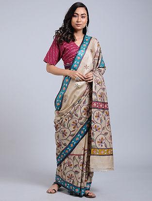 Ivory-Blue Kantha-embroidered Tussar Silk Saree