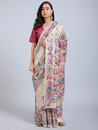 Multicolored Kantha-embroidered Tussar Silk Saree