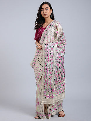 e9a487fe4b118 Ivory-Pink Kantha-embroidered Tussar Silk Saree
