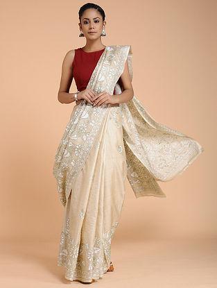 Ivory Kantha-embroidered Tussar Silk Saree