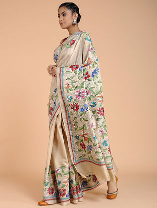 Ivory-Pink Kantha-embroidered Tussar Silk Saree