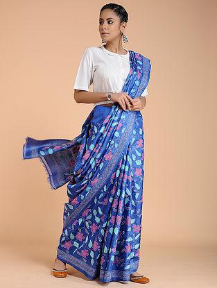 Blue-Pink Kantha-embroidered Tussar Silk Saree