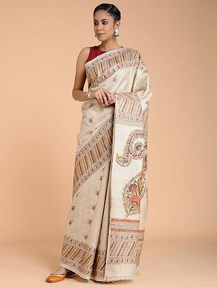 Ivory-Orange Kantha-embroidered Ghicha Tussar Silk Saree