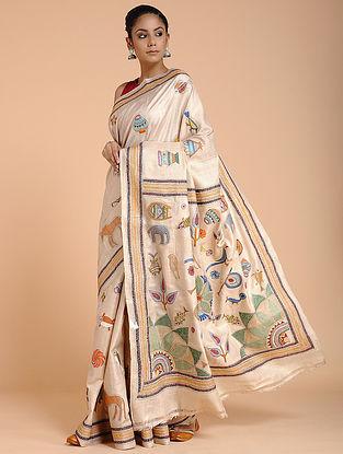 Ivory-Green Kantha-embroidered Ghicha Tussar Silk Saree