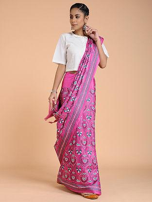 Pink-Ivory Kantha-embroidered Silk Saree