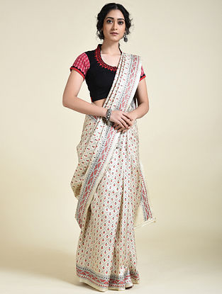 Ivory-Red Kantha Embroidered Tussar Silk Saree