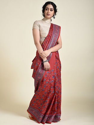 Red-Blue Kantha Embroidered Silk Saree