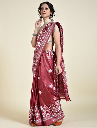 Red-Ivory Kantha Embroidered Tussar Silk Saree