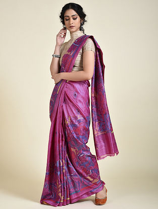 Purple-Blue Kantha Embroidered Tussar Silk Saree