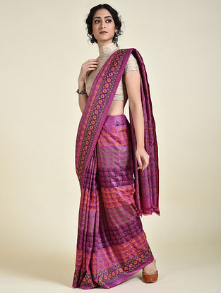 Purple-Orange Kantha Embroidered Tussar Silk Saree
