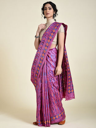 Pink-Blue Kantha Embroidered Tussar Silk Saree