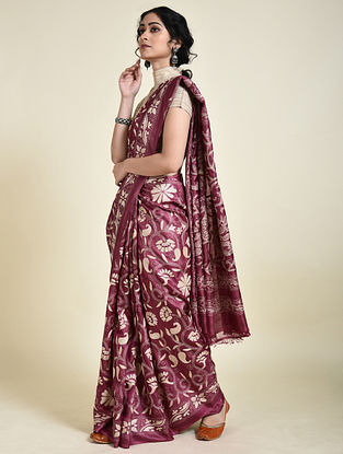 Maroon-Ivory Kantha Embroidered Tussar Silk Saree