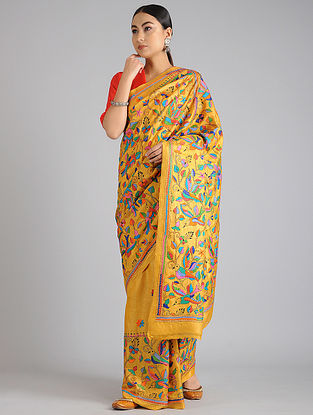 Yellow Handwoven Kantha Embroidered Tussar Silk Saree