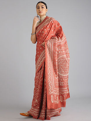 Red Handwoven Kantha Embroidered Silk Saree
