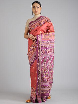 Orange-Purple Handwoven Kantha Embroidered Tussar Silk Saree