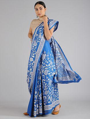 Royal Blue Handwoven Kantha Embroidered Silk Saree